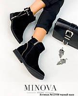 Ботинки женские №1233М-черный замш, фото 1