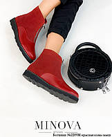 Ботинки женские №2209М-красная кожа-замш, фото 1