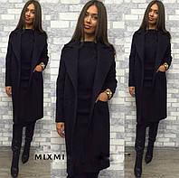 Женское кашемировое пальто чёрное 42-44 44-46