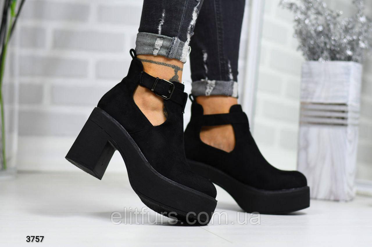 Ботинки демисезонные стильные на каблуках, эко-замш