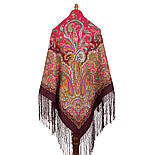 Караван 970-7, павлопосадский хустку (шаль) з ущільненої вовни з шовковою бахромою в'язаної, фото 3