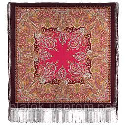 Караван 970-7, павлопосадский платок (шаль) из уплотненной шерсти с шелковой вязанной бахромой