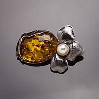 Брошь Цветок Янтарный камень