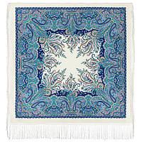 Караван 970-0, павлопосадский платок (шаль) из уплотненной шерсти с шелковой вязанной бахромой, фото 1