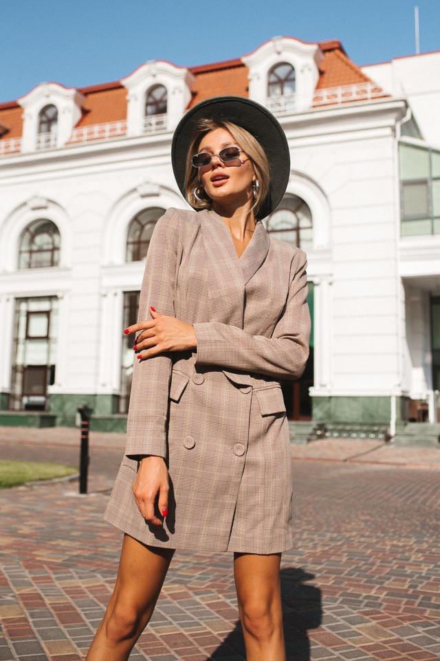 """Двубортное платье -пиджак """" Манхэттен"""" на шелковой подкладке (6476)"""