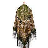 Караван 970-10, павлопосадский платок (шаль) из уплотненной шерсти с шелковой вязанной бахромой, фото 2