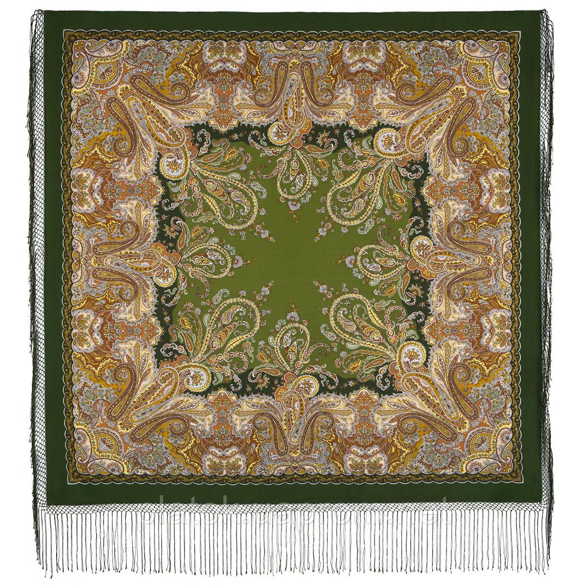 Караван 970-10, павлопосадский платок (шаль) из уплотненной шерсти с шелковой вязанной бахромой
