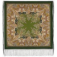 Караван 970-10, павлопосадский платок (шаль) из уплотненной шерсти с шелковой вязанной бахромой, фото 1
