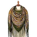 Караван 970-10, павлопосадский платок (шаль) из уплотненной шерсти с шелковой вязанной бахромой, фото 6