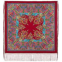 Караван 970-5, павлопосадский платок (шаль) из уплотненной шерсти с шелковой вязанной бахромой, фото 1