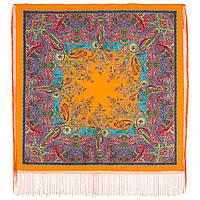 Караван 970-2, павлопосадский платок (шаль) из уплотненной шерсти с шелковой вязанной бахромой, фото 1