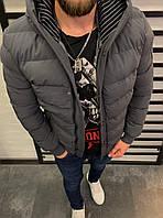 Куртка серая мужская теплая осень зима с капюшоном непромокающая с карманами и манжетами на рукавах S размер