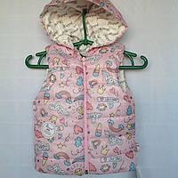 """Жилетка детская """"Коровка"""" #007 для девочек. 1-2 года. Розовая. Оптом., фото 1"""