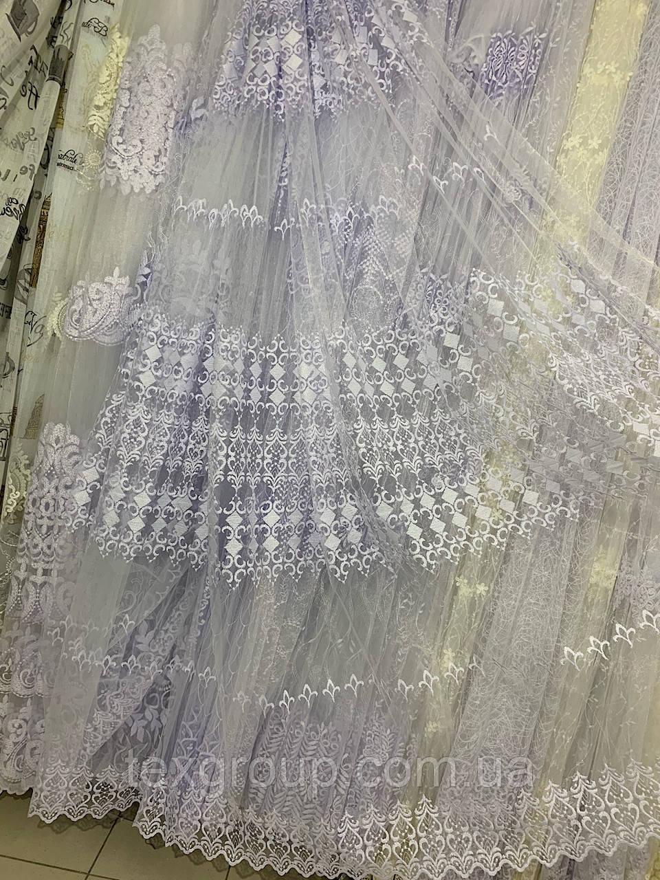 Турецкая фатиновая тюль с вышивкой 8840