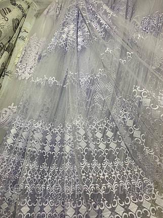 Турецкая фатиновая тюль с вышивкой 8840, фото 2