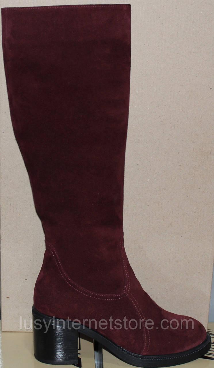Сапоги замшевые женские зимние на каблуке от производителя модель РИ7917-1
