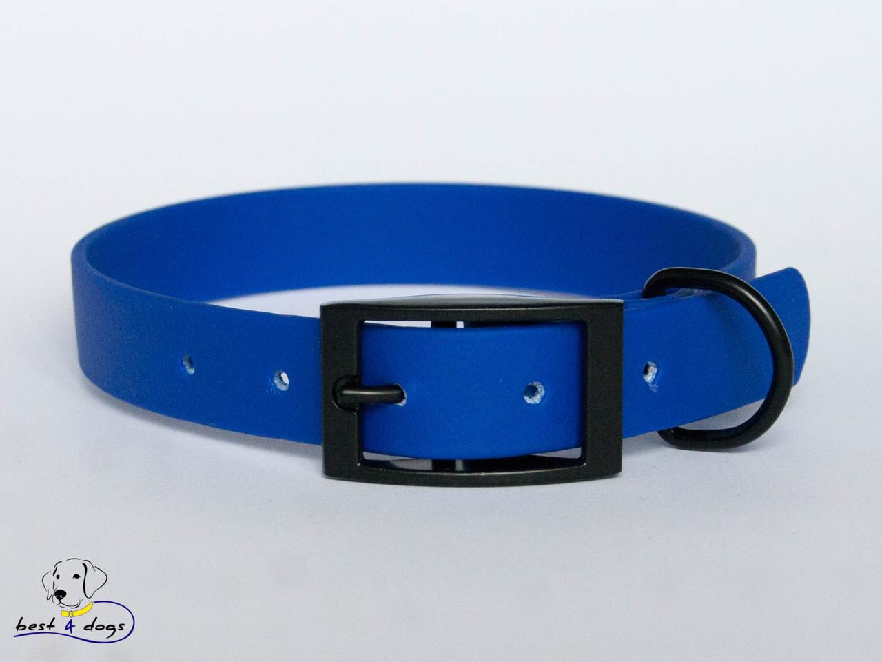 Ошейник из биотана, Синий, 25мм(черная пряжка)
