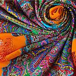 Караван 970-2, павлопосадский хустку (шаль) з ущільненої вовни з шовковою бахромою в'язаної, фото 6