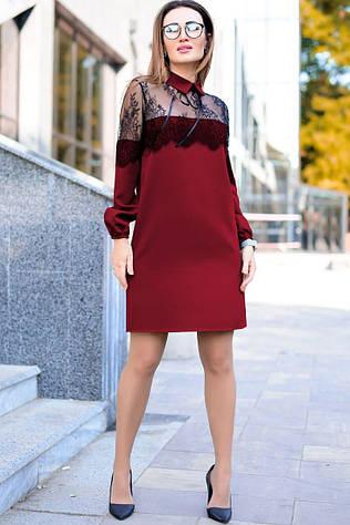 Однотонное платье с кружевом Бланш