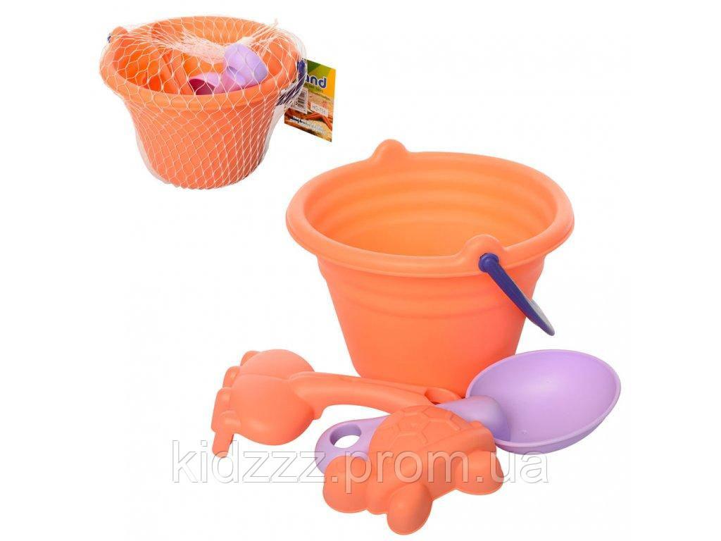 Детский мягкий набор для песочницы ведерко, лопатка, грабли, формочка
