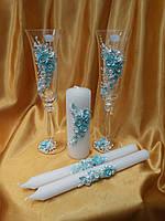 """Свадебные бокалы и свечи """"Ветка розы"""" голубая."""