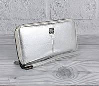 Кошелек кожаный женский на молнии серебристый Givenchy 6288, фото 1