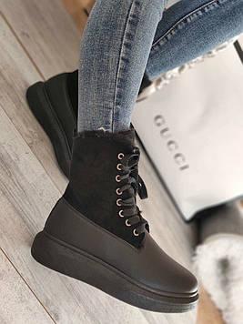 Ботинки женские на меху Криперы черные