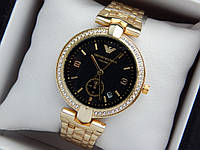 Женские кварцевые наручные часы Emporio Armani (Армани) золотого цвета, с черным циферблатом