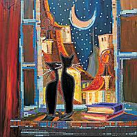 Схема для вышивки бисером на натуральном художественном холсте В окошке кошки