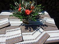 Кофейная на льне скатерть и салфетки коричневые, фото 1