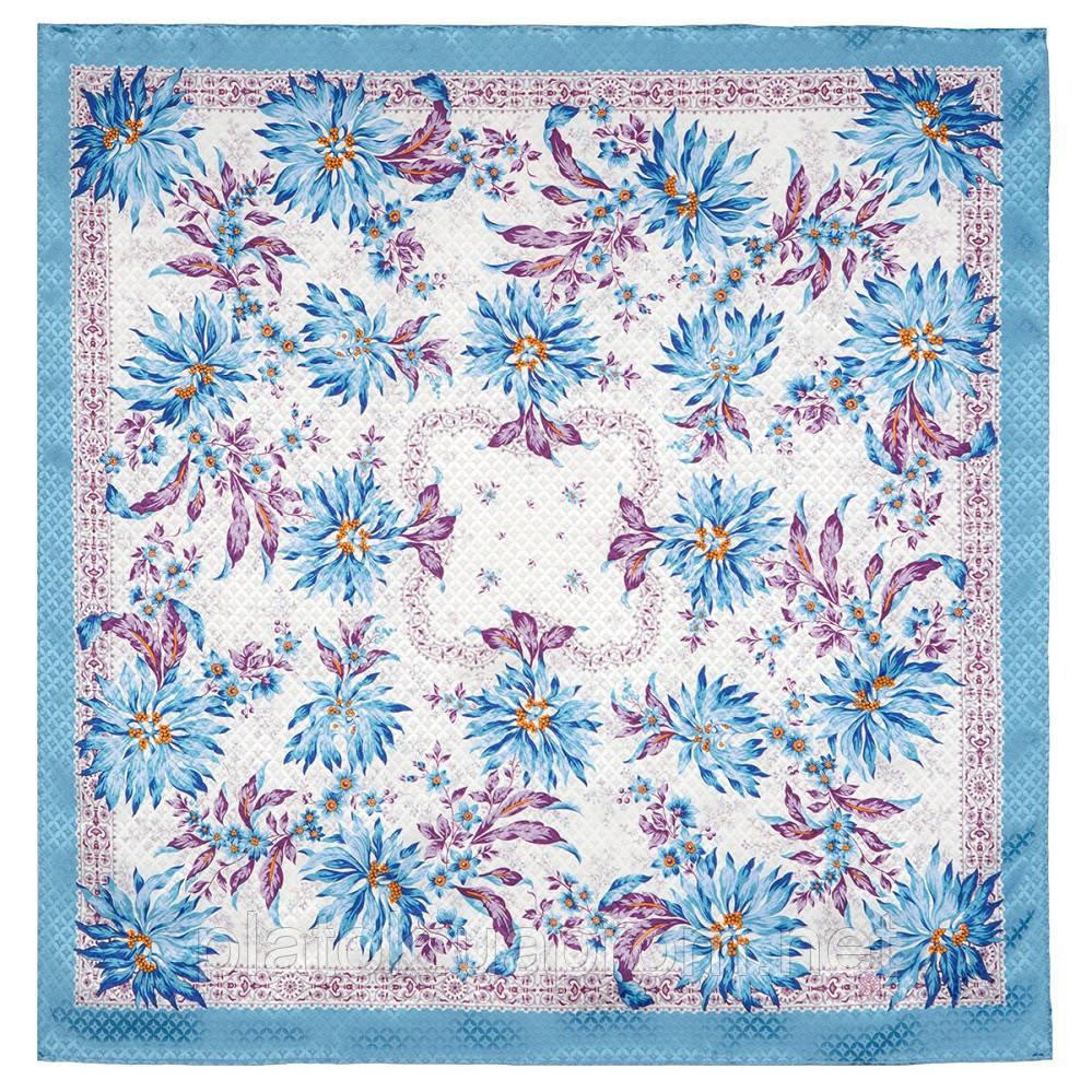 Акварелі 750-13, павлопосадский платок шовковий (жаккард) з подрубкой. Стандартний сорт