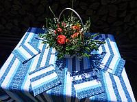Синяя скатерть вышитая и салфетки, фото 1