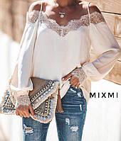 Стильная женская блуза с кружевом белая чёрная 42-44 44-46 46-48