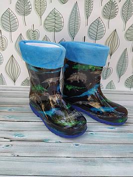 Детские резиновые сапоги Резиновые детские сапожки Синие детские сапоги Детские сапоги с динозаврами