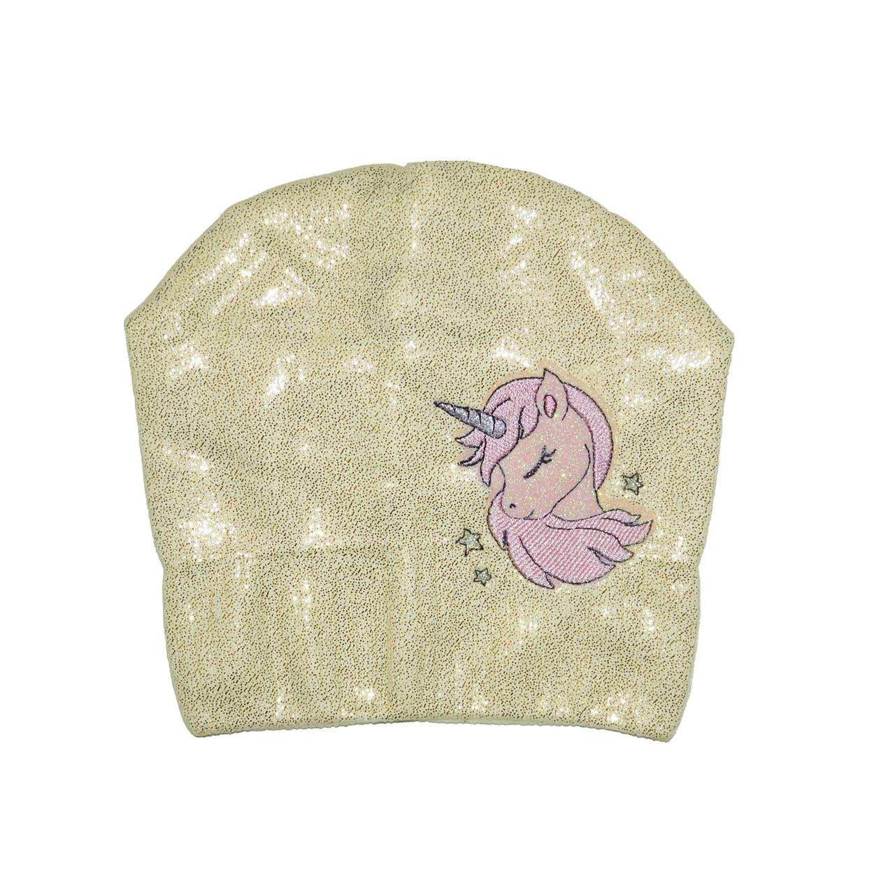 Шапка детская демисезонная с рисунком Единорог для девочки
