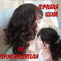 Парик из натуральных волос удлиненный каскад шоколадный ANGELIKA- 4