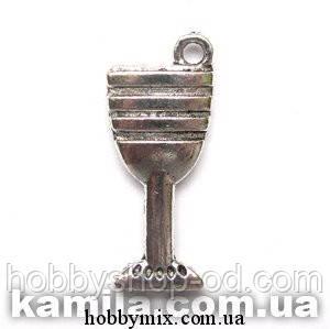 """Метал. подвеска """"бокал"""" серебро (1,2х2,7 см) 5 шт в уп."""