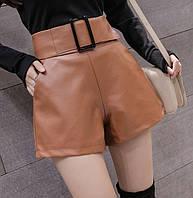 Женские шорты с завышенной талией и пряжкой из кожзама рыжие, фото 1