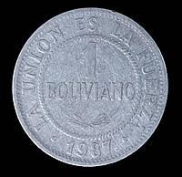 Монета Боливии 1 боливиано 1987 г.
