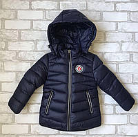 Зимняя детская куртка для мальчиков 2-6лет, темно-синего цвета