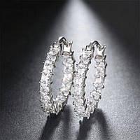 Серьги-кольца - Двухсторонние (Серебряные с белым камнем)
