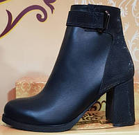 Ботинки черные кожаные женские демисезонные на каблуке от производителя модель КЛ905-1