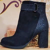 Ботинки черные замшевые женские демисезонные на каблуке от производителя модель КЛ905-2