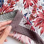 Акварели 750-16, павлопосадский платок шелковый (жаккардовый) с подрубкой, фото 5