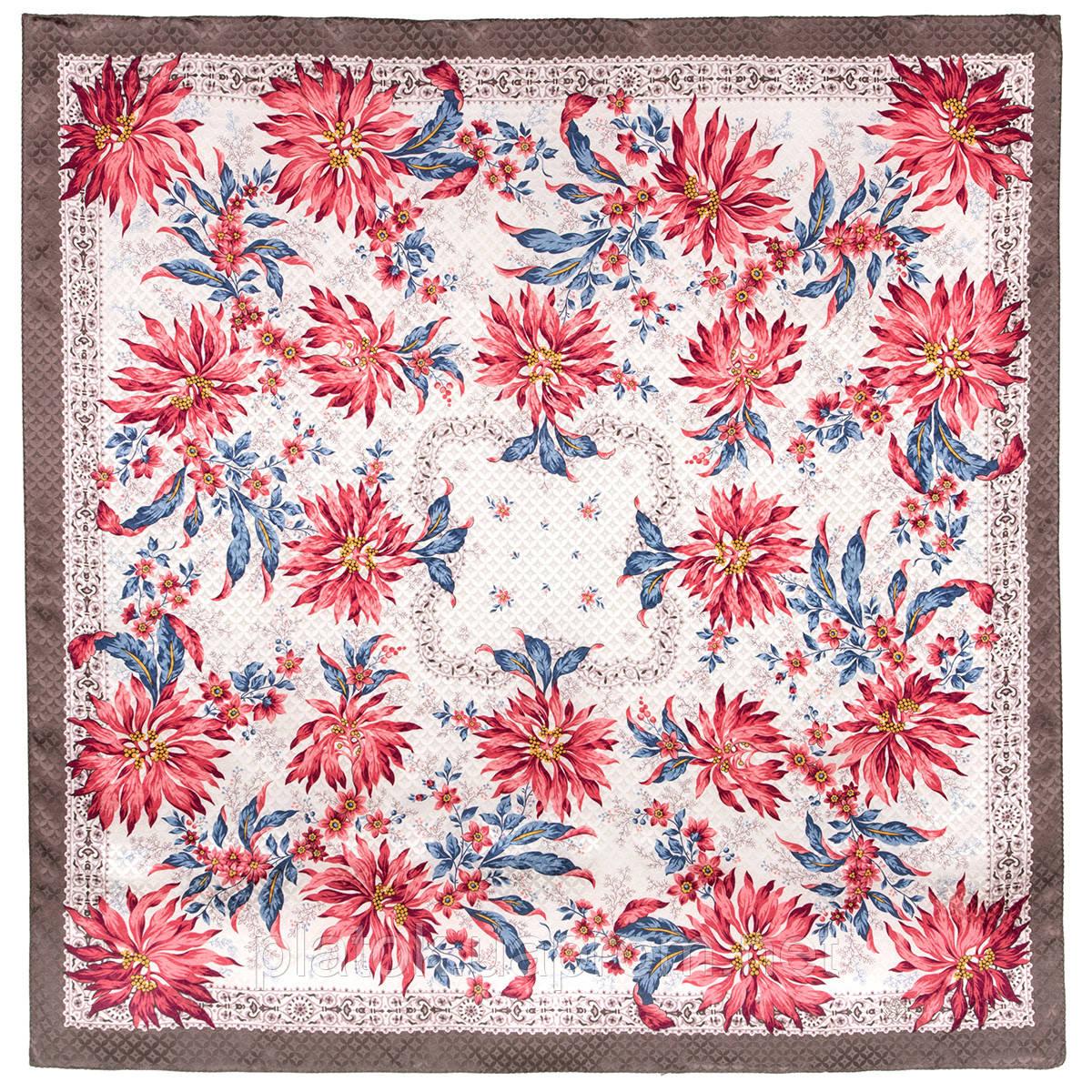 Акварели 750-16, павлопосадский платок шелковый (жаккардовый) с подрубкой