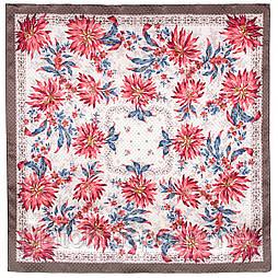 Акварели 750-16, павлопосадский платок (жаккард) шелковый с подрубкой