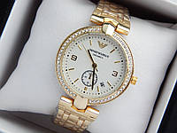 Женские кварцевые наручные часы Emporio Armani (Армани) золото, светлый циферблат с датой, фото 1