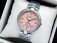 Женские кварцевые наручные часы Emporio Armani (Армани) серебро, розовый циферблат, фото 1