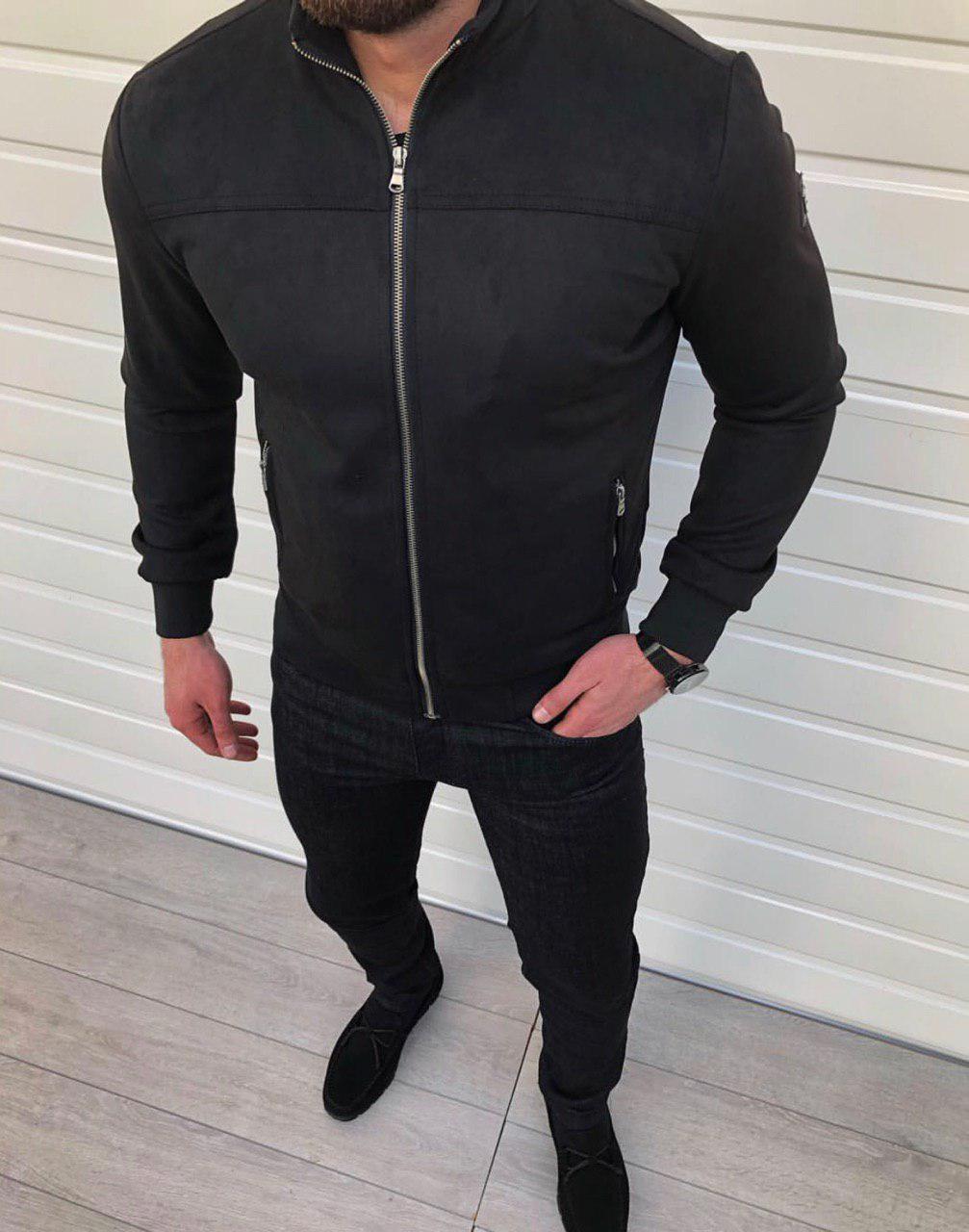Куртка бомбер замшевый черный на замке