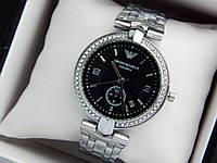 Женские кварцевые наручные часы Emporio Armani (Армани) серебро, черный циферблат, фото 1